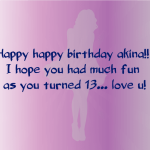 happy birthday wish for akina turned 13